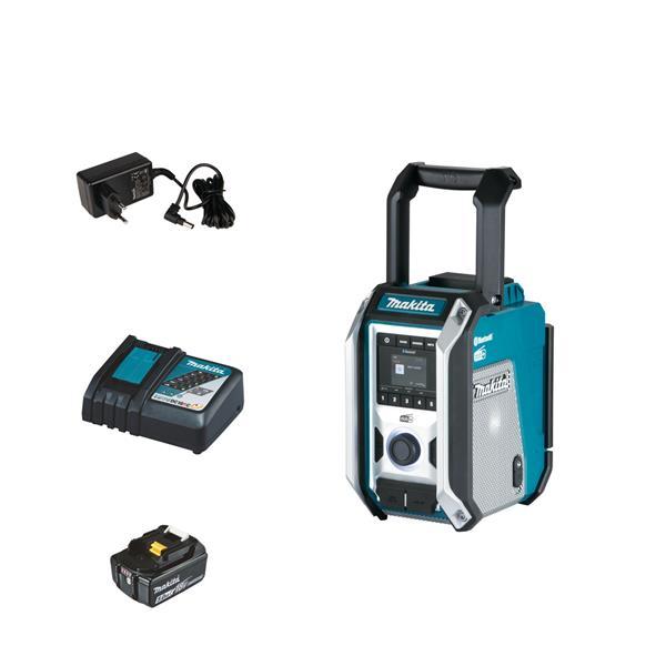 Makita DMR115 1 x 5.0 Ah + Schnellladegerät - Akku Baustellenradio 12 V - 18 V DAB+ Bluetooth