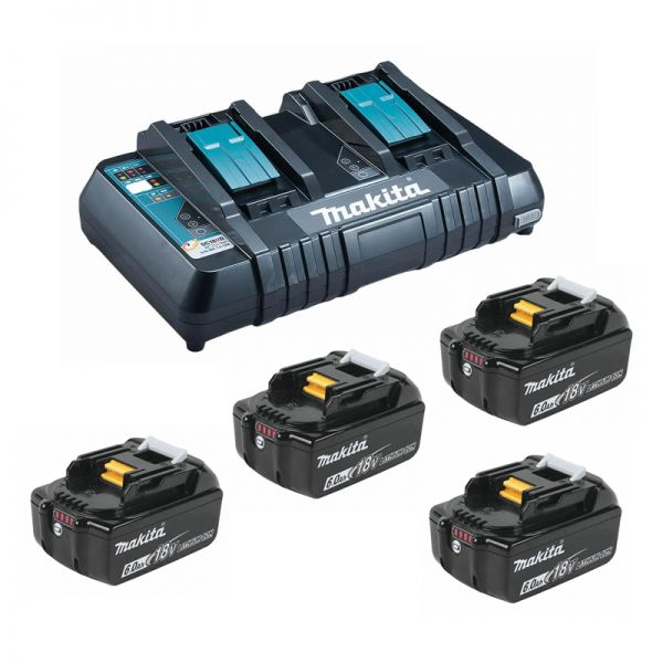 Makita Power-Source Kit 18V 6,0 Ah 199485-6 ( 4 x 6,0 Ah BL1860B + Doppellader DC18RD )