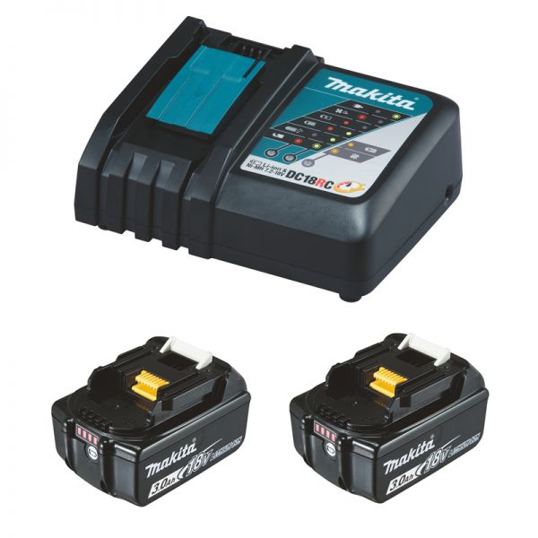 Makita Power-Source Kit 18 V 3,0 Ah 2 x BL1830B + DC18RC Schnellladegerät