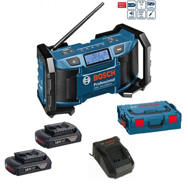 Bosch GML SoundBoxx Professional 2 x 1,5Ah Akku + AL1820 in L-Boxx - 18 V Radio Baustellenradio
