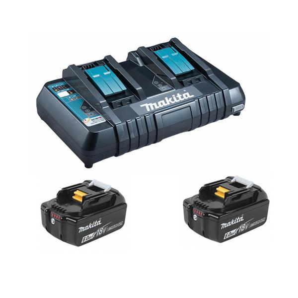 Makita Power-Source Kit 18V 6,0 Ah 199484-8 ( 2 x 6,0 Ah BL1860B + Doppellader DC18RD )