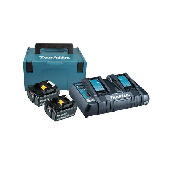 Makita Power-Source Kit 18V 5,0 Ah 197629-2 ( 2 x 5,0 Ah + Doppellader DC18RD + Makpac )