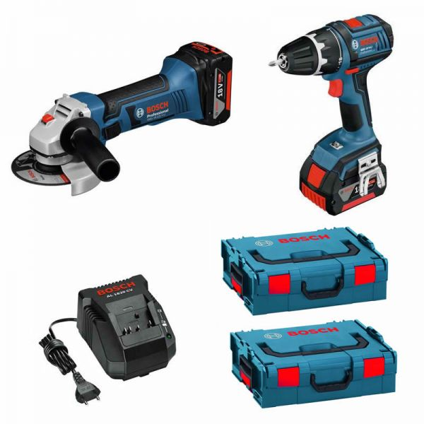 Bosch GWS 18-125 V-LI + GSR 18 V-LI 2 x 4,0 Ah + L-Boxx - Akku Set