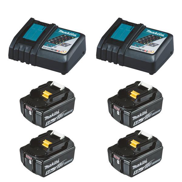 Makita Power-Source Kit XL 18 V 5,0 Ah 4 x BL1850B + 2 x DC18RC Schnellladegerät
