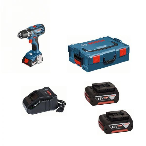 Bosch GSR 18-2-LI Plus 2 x 4,0 Ah + AL1860 in L-BOXX
