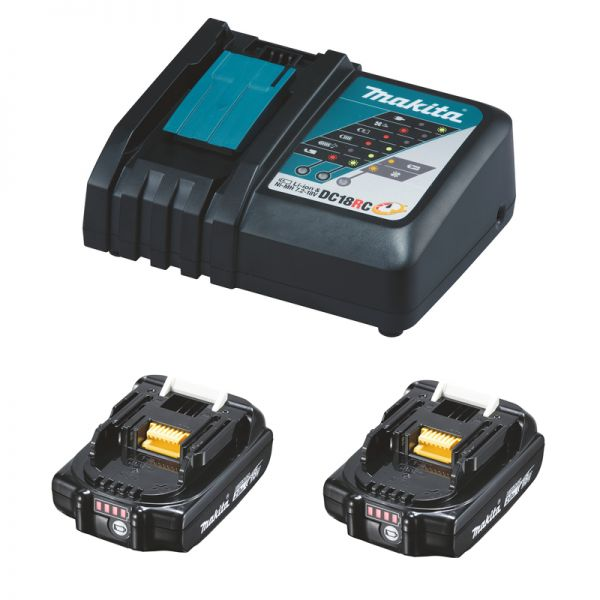 Makita Power-Source Kit 18 V 2,0 Ah 2 x BL1820B + DC18RC Schnellladegerät
