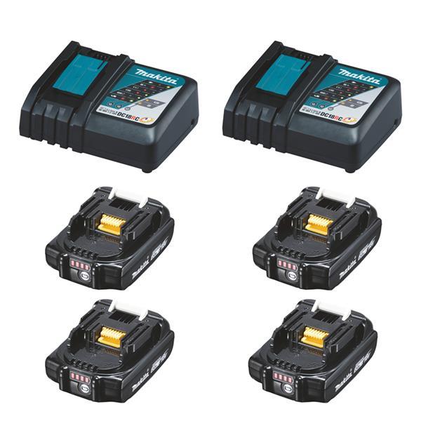 Makita Power-Source Kit XL 18 V 2,0 Ah 4 x BL1820B + 2 x DC18RC Schnellladegerät