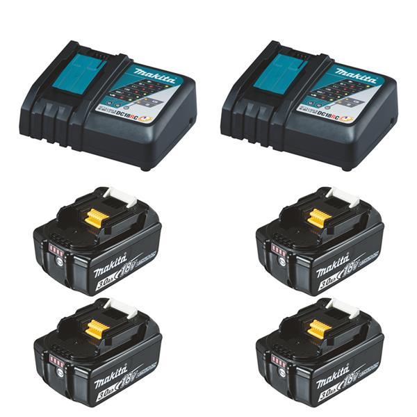Makita Power-Source Kit XL 18 V 3,0 Ah 4 x BL1830B + 2 x DC18RC Schnellladegerät