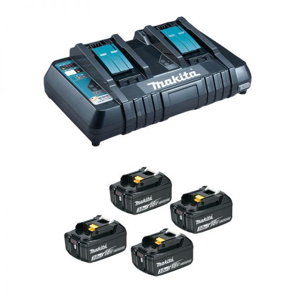 Makita Power-Source Kit 18V 197720-6 Bulk ( 4 x 3,0 Ah + DC18RD Doppelladegerät )