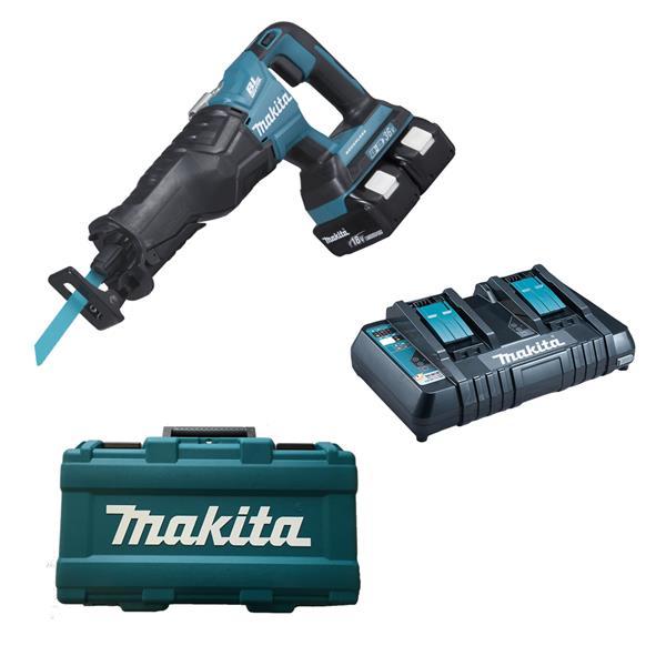 Makita DJR360 PJ2 2 x 3,0 Ah + Doppellader im Koffer - Akku Reciprosäge 2 x 18 V