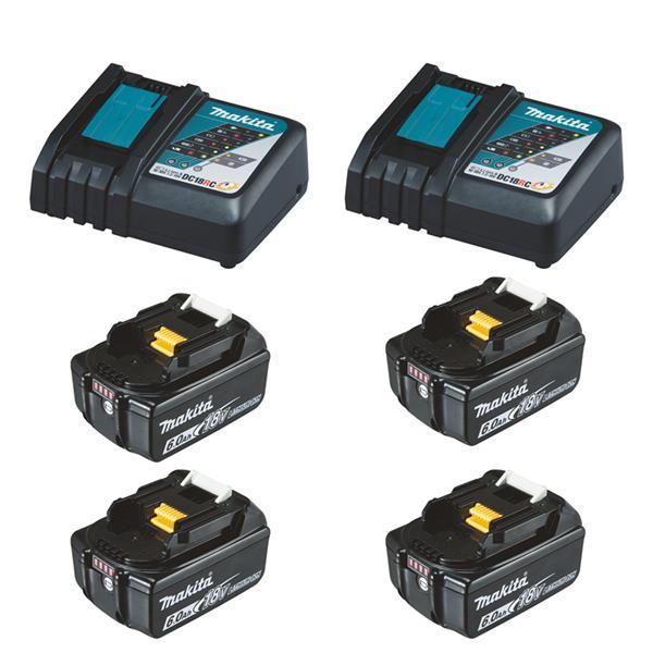 Makita Power-Source Kit XL 18 V 6,0 Ah 4 x BL1860B + 2 x DC18RC Schnellladegerät