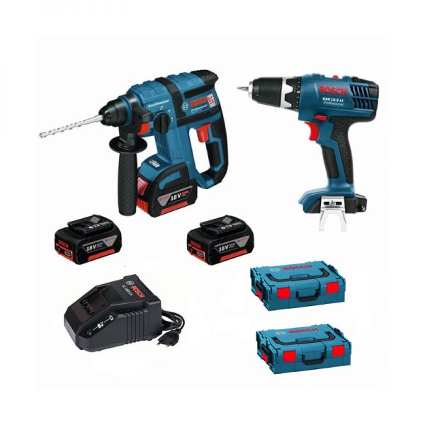 Bosch GBH 18 V-EC+ GSR 18-2-LI 3 x 4,0 Ah in 2 x L-Boxx Gr. 2 - Akku Bohrhammer