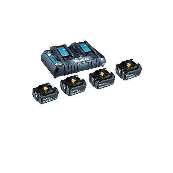 Makita Power-Source Kit 18V 5,0 Ah 199483-0 ( 4 x 5,0 Ah + Doppellader DC18RD )