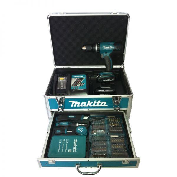 Makita DHP453RYX2 2 x 1,5 Ah im Alukoffer - Akku Schlagbohrschrauber Set