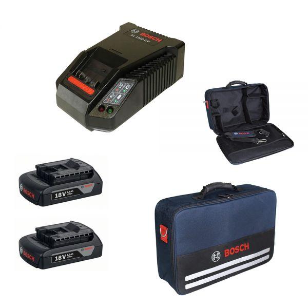 Bosch Starter Set 2 x Akku GBA 18V + Ladegerät AL1860CV im Softbag