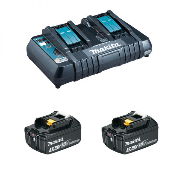 Makita Power-Source Kit 2 x 3,0 Ah ( BL1830B ) + DC18RD Doppelladegerät