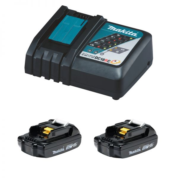 Makita Power-Source Kit 18 V 1,5 Ah 2 x BL1815N + DC18RC Schnellladegerät
